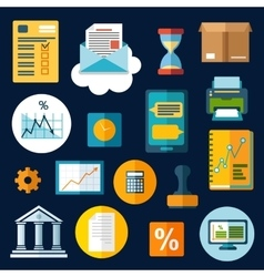 Business financial and office flat icons vector image
