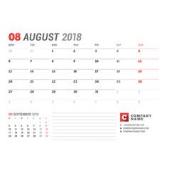 Calendar template for august 2017 business vector