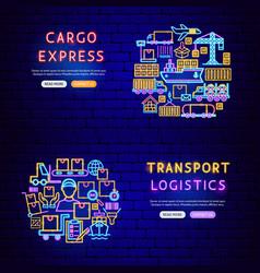 Cargo neon banners vector