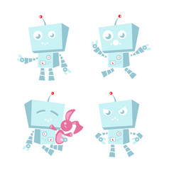 Cartoon character cute blue robot vector