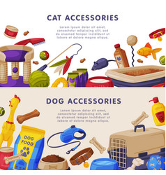 cat and dog accessories banner templates set pet vector image