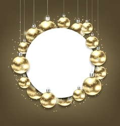 Christmas Golden Glowing Balls with Clean Card vector