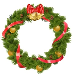 Christmas Wreath with Bells vector image