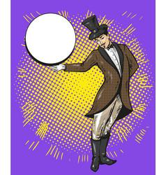 Circus magician or casino croupier character vector