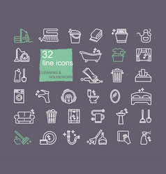 cleaning and housework icons flat design thin vector image