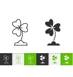 Clover simple black line icon vector