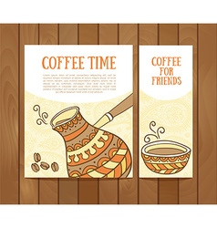 Coffee banners set with hand drawn coffee for vector image
