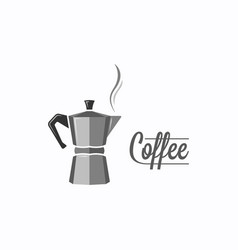 coffee pot logo coffee maker on white background vector image