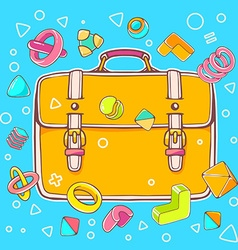 Colorful of yellow backpack on blue backgrou vector
