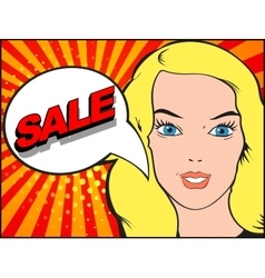 Comics style woman with SALE bubble Pop art vector image