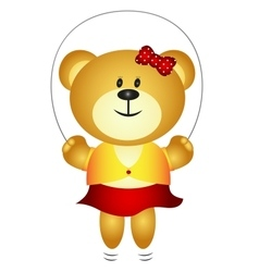 Cute Girl Cartoon Bear Playing Skipping Rope vector image