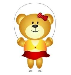 Cute Girl Cartoon Bear Playing Skipping Rope vector image vector image