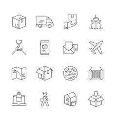 delivering icons shipping logistics delivery sea vector image