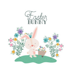 easter bunny label isolated icon vector image
