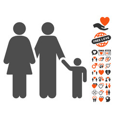 Family icon with valentine bonus vector