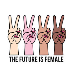 female hands with peace sign girl power vector image