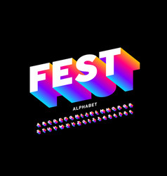 fest style bright font vector image