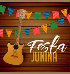 festa junina guitar and garlands background vector image