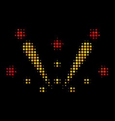 Fireworks explosion halftone icon vector