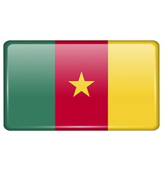 Flags cameroon in the form of a magnet on vector image vector image