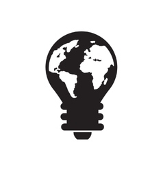Flat icon in black and white Earth lightbulb vector