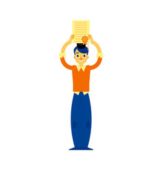 flat student graduate man with diploma vector image