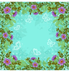 Flowers butterflies and sky vector image