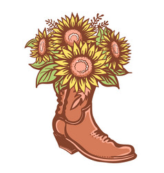 Flowers in boot cowboy boot with sunflowers vector