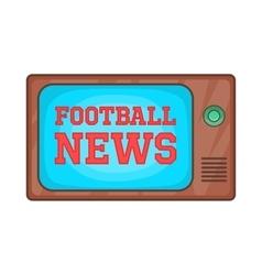 Football news on retro TV icon cartoon style vector