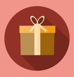 gift box present icon flat design with long vector image