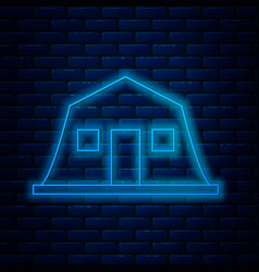 Glowing neon line military barracks station icon vector