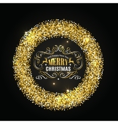 Gold glitter christmas frame with calligraphy vector image