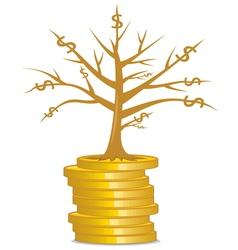 Golden money tree vector image