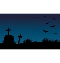 Graves and bat halloween backgrounds vector