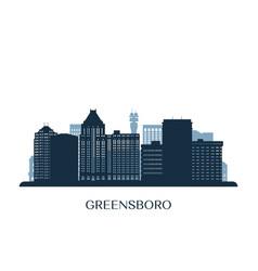 greensboro north carolina skyline monochrome vector image
