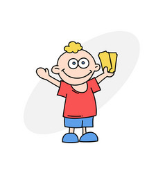 happy boy with tickets vector image