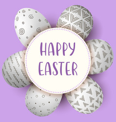 Happy easter eggs with text white eggs with vector