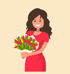 happy girl holding a bouquet flowers vector image
