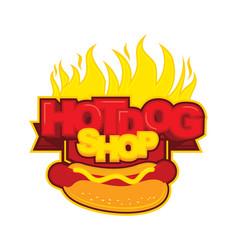 Hot dog badge logo vector