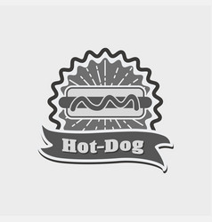 hot dog vintage sign badge label or logo vector image