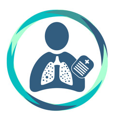 Human silhouette icon with sick lungs clipboard vector