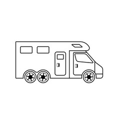 icon of camping family caravan car vector image