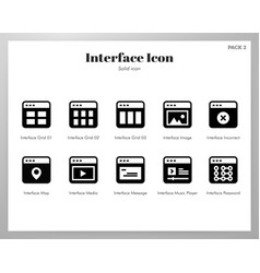 interface icons solid pack vector image