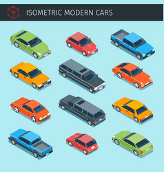 isometric cars collection vector image