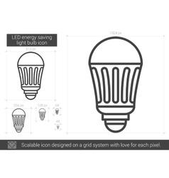 LED energy saving light bulb line icon vector