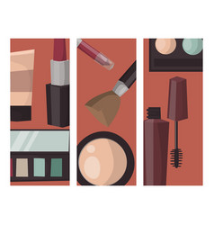 makeup cards perfume mascara care brushes comb vector image