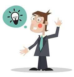 Man in Suit with Bulb in Bubble Icon - Isola vector image