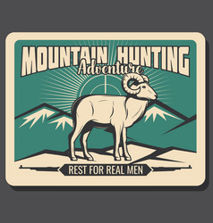 Mountain goat hunting adventure poster vector