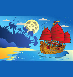 night seascape with chinese ship vector image