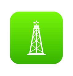 oil rig icon digital green vector image